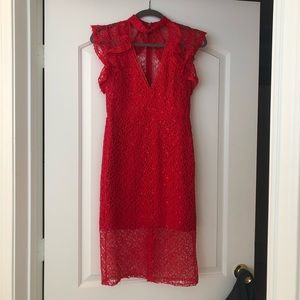 Red Alexis lace dress small